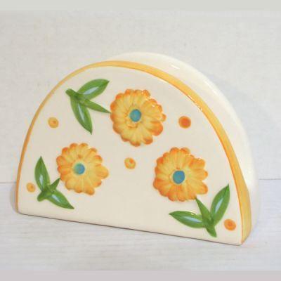 Porte serviettes de table faience d cor floral achat for Numero de porte en faience