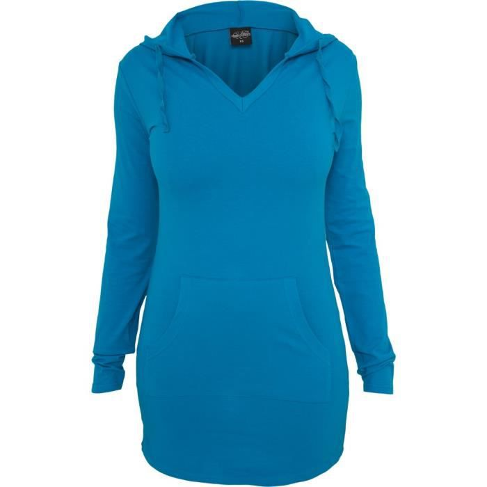 urban classics femme long jersey sweat capuche turquoise achat vente sweatshirt urban. Black Bedroom Furniture Sets. Home Design Ideas