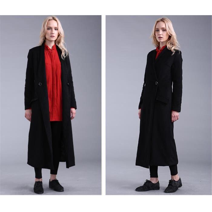manteau long femme en laine mollets gris col gris noir achat vente veste les soldes. Black Bedroom Furniture Sets. Home Design Ideas