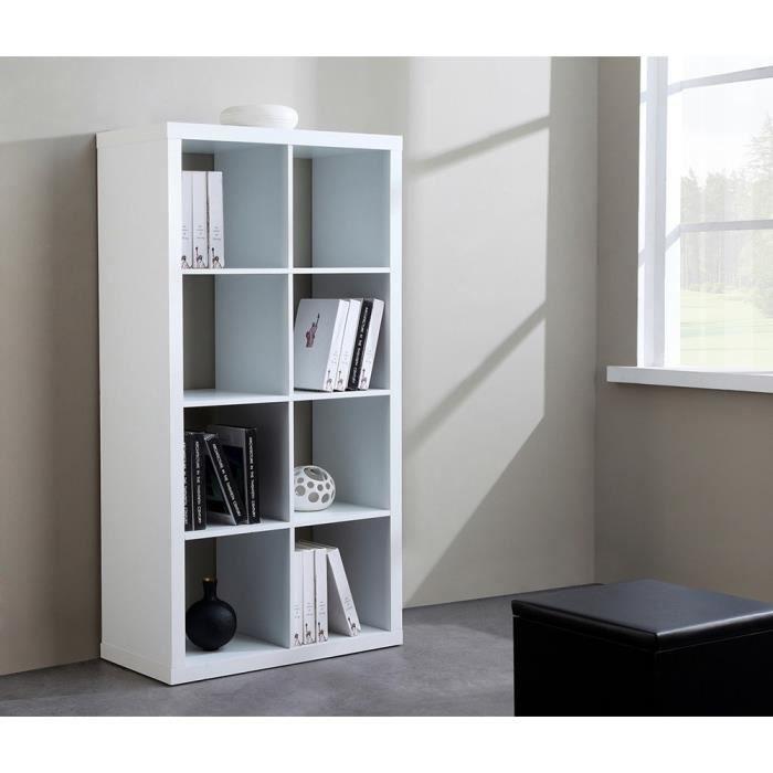 cubico etag re biblioth que 8 niches l149cm pvc blanc achat vente biblioth que cubico. Black Bedroom Furniture Sets. Home Design Ideas