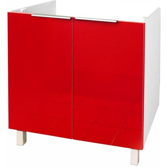 caisson vier 2 portes 80 cm rouge haute brillance achat vente l ments haut et bas. Black Bedroom Furniture Sets. Home Design Ideas