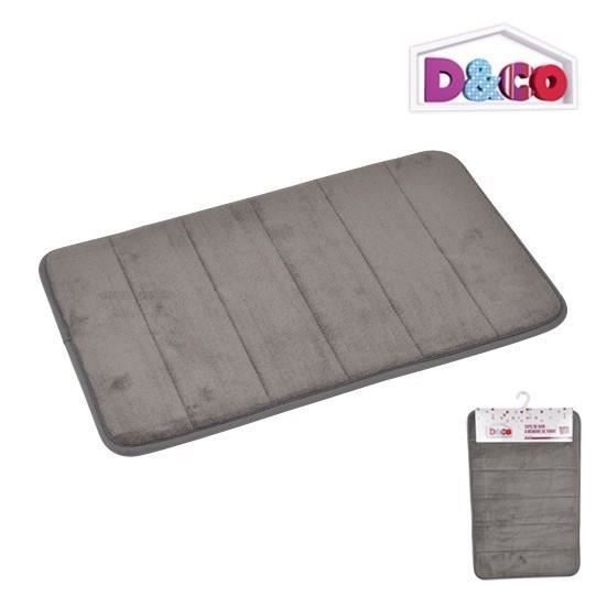 tapis de bain m moire de forme gris 40x60 cm d co achat vente tapis de bain synth tique. Black Bedroom Furniture Sets. Home Design Ideas