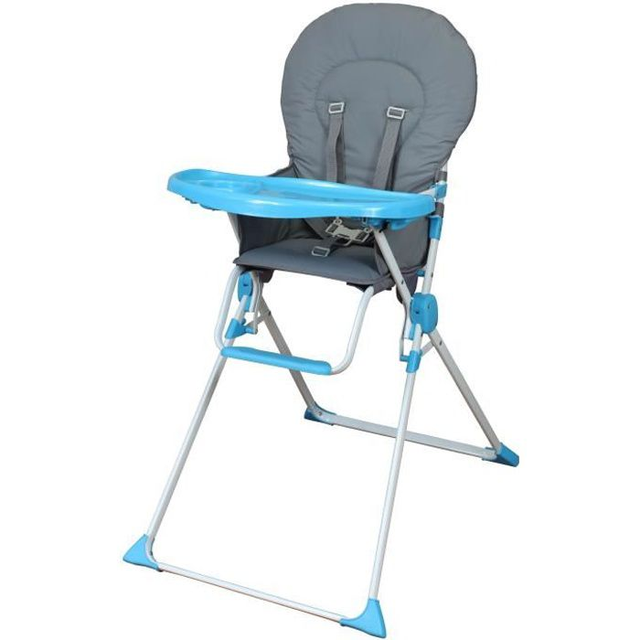 CHAISE HAUTE  BAMBIKID Chaise Haute Fixe - Gris & Turquoise