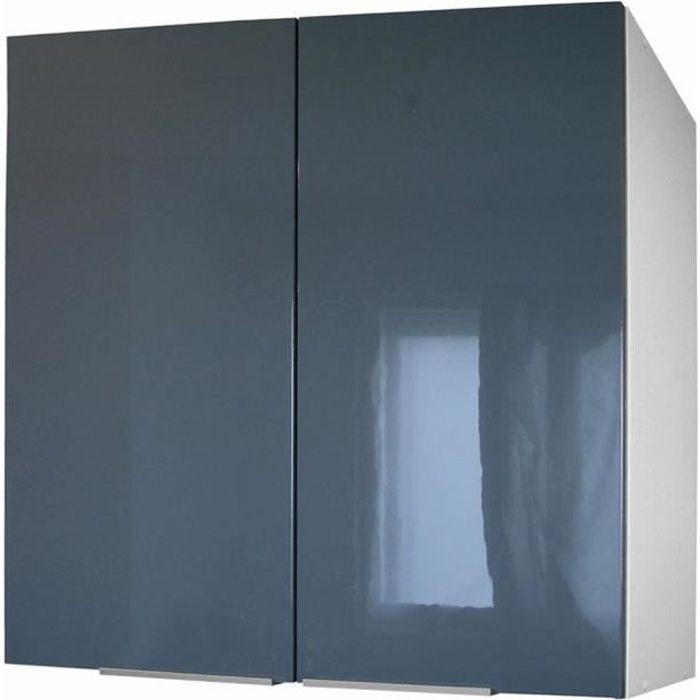 Pop meuble haut de cuisine l 80 cm gris brillant achat for Meuble haut 110 cm