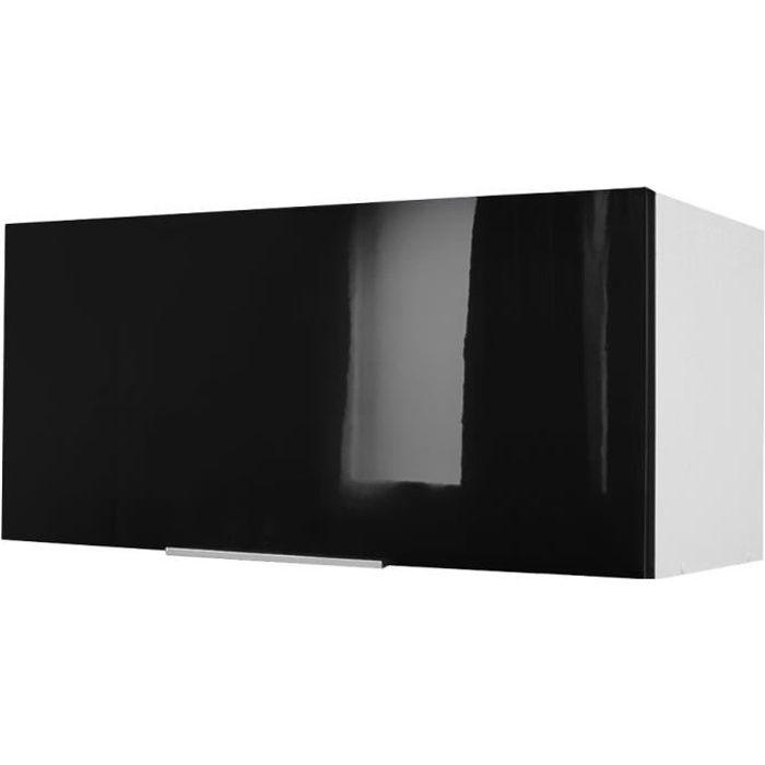 Pop meuble hotte 80 cm noir haute brillance achat for Hotte sous meuble haut
