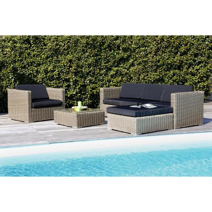 salon de jardin 5 places en r sine alu marron gris achat vente salon de jardin salon de. Black Bedroom Furniture Sets. Home Design Ideas