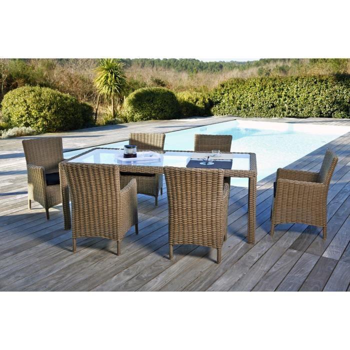 ensemble table de jardin 200 cm 6 fauteuils r sine tress e achat vente salon de jardin. Black Bedroom Furniture Sets. Home Design Ideas