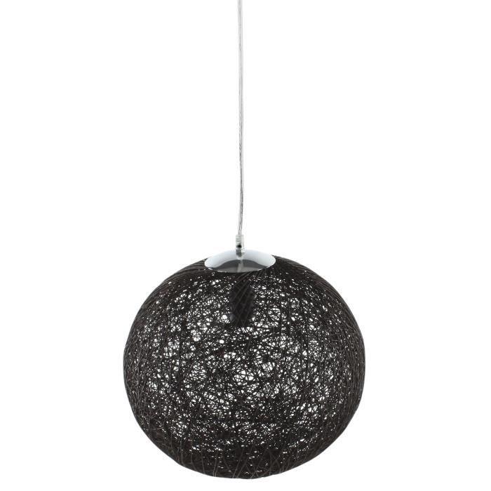 Baya suspension boule rotin 35cm noire hauteur plafond for Suspension luminaire boule