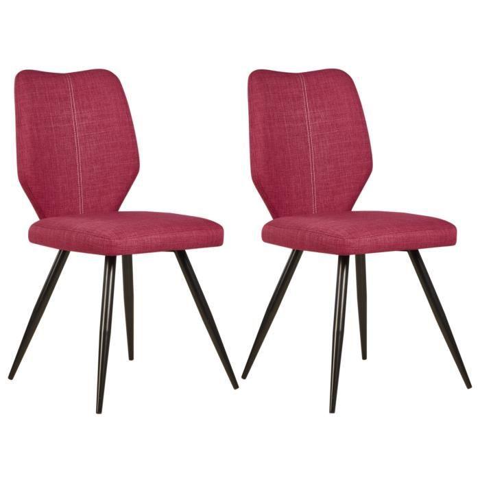 Barbara lot de 2 chaises de salle manger 46 cm rose for Chaises tissu salle manger