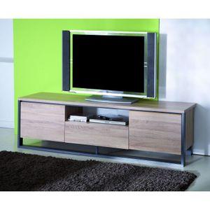 quaker banc tv 155cm coloris ch ne et gris achat vente meuble tv quaker banc tv bois. Black Bedroom Furniture Sets. Home Design Ideas
