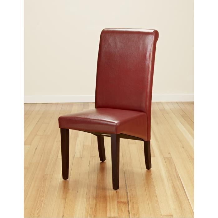 Lot de 2 chaises burgundy rouge de salle de manger de for Chaise de salle a manger rouge