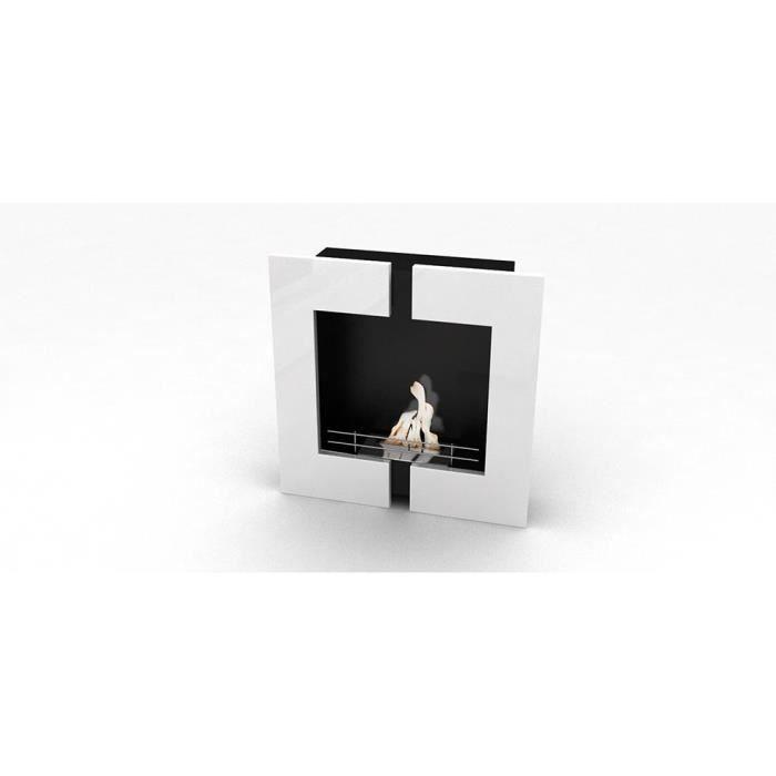chemin e bio thanol murale contemporaine blanche achat. Black Bedroom Furniture Sets. Home Design Ideas
