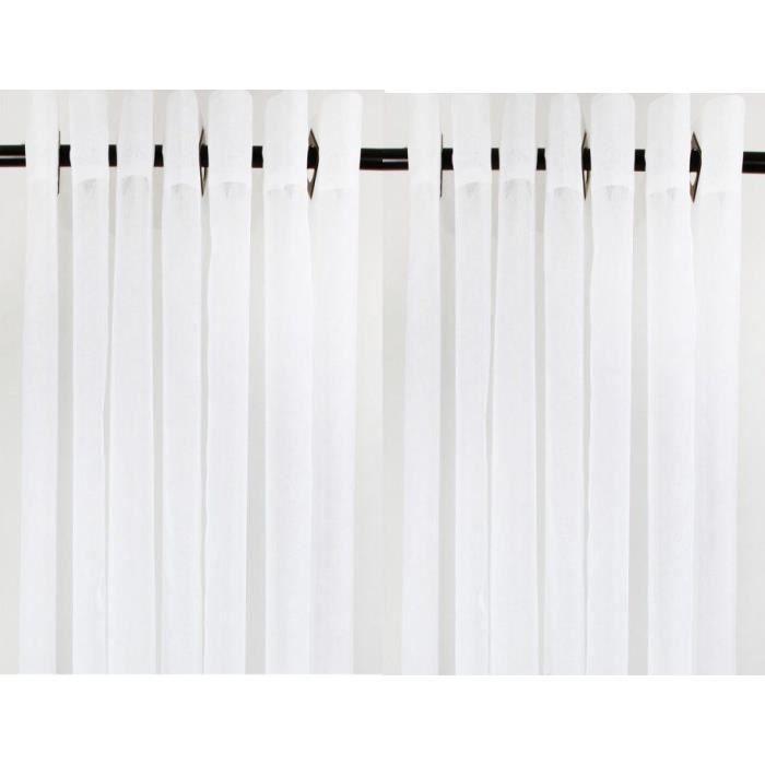 Paire de voilages unis blanc 140x240cm achat vente - Paire de voilage ...