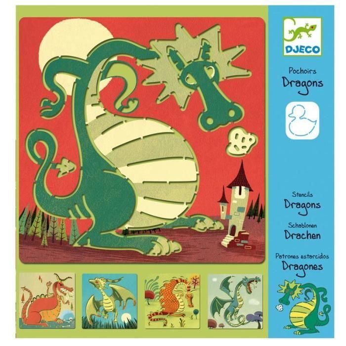 djeco 5 pochoirs dragon jeux loisirs creatifs enfants 4 a 8 ans achat vente jeu de coloriage. Black Bedroom Furniture Sets. Home Design Ideas