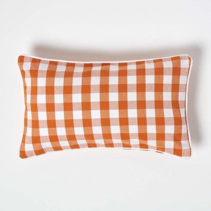 coussin d houssable carreaux orange 30 x 50 cm achat. Black Bedroom Furniture Sets. Home Design Ideas