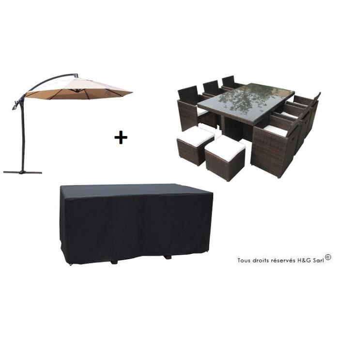 Salon de jardin encastrable en resine tressee chocolat 10 places avec housse avec parasol ecru for Housse salon de jardin resine tressee