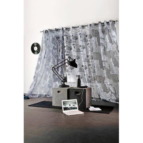 linder 0110 19 49791 377fr voilage imprim new york gris. Black Bedroom Furniture Sets. Home Design Ideas