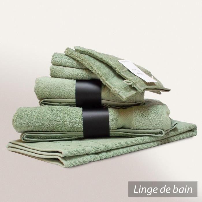 parure de bain 7 pi ces royal cresent vert c ladon 650 g. Black Bedroom Furniture Sets. Home Design Ideas