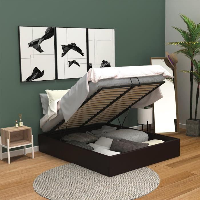 lit coffre achat vente lit coffre pas cher cdiscount. Black Bedroom Furniture Sets. Home Design Ideas