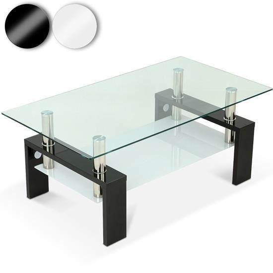Table basse avec plaque de verre disponible en 2 couleurs noir achat vent - Plaque en verre ikea ...