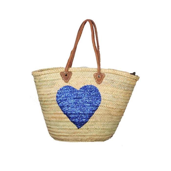 panier en osier avec motif coeur bleu achat vente panier sac de plage 2009841078900. Black Bedroom Furniture Sets. Home Design Ideas