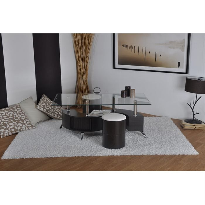 Surf table basse rectangulaire poufs weng blanc achat vente table bass - Table basse wenge rectangulaire ...