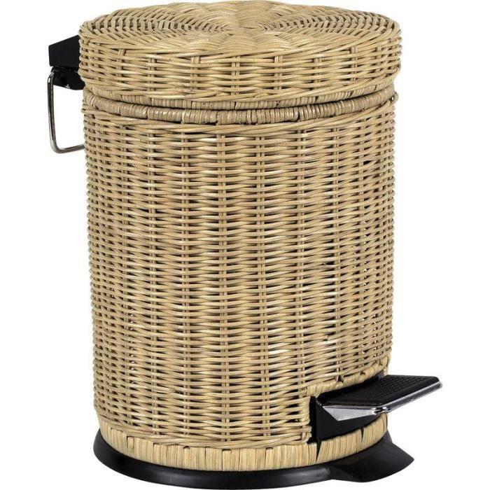 Poubelle de salle de bain en rotin 5l achat vente set for Poubelle de salle de bain bambou