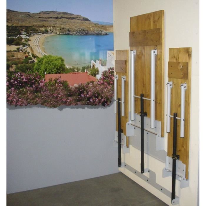 Ensemble table bancs relevable sur mur 4 places achat for Table repliable sur mur