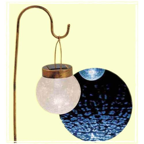 Lampe de jardin solaire suspendue verre craquel achat vente lampe de jardin solaire verre for Lampe solaire jardin brico