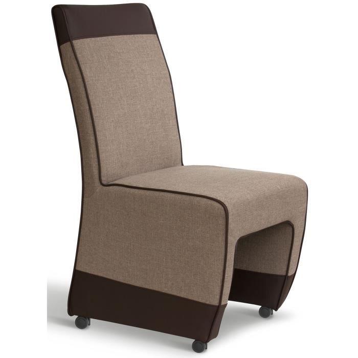 Lot de 2 chaises tweed simili cuir et roulette achat for Chaise bois et simili cuir