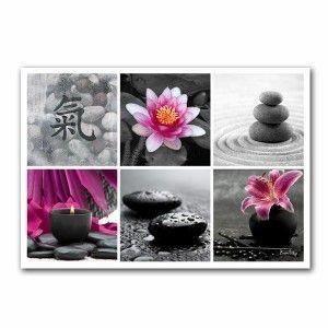 Tableau mosa que zen rose fond noir et blanc 55 x 80 cm for Tableau noir et rose