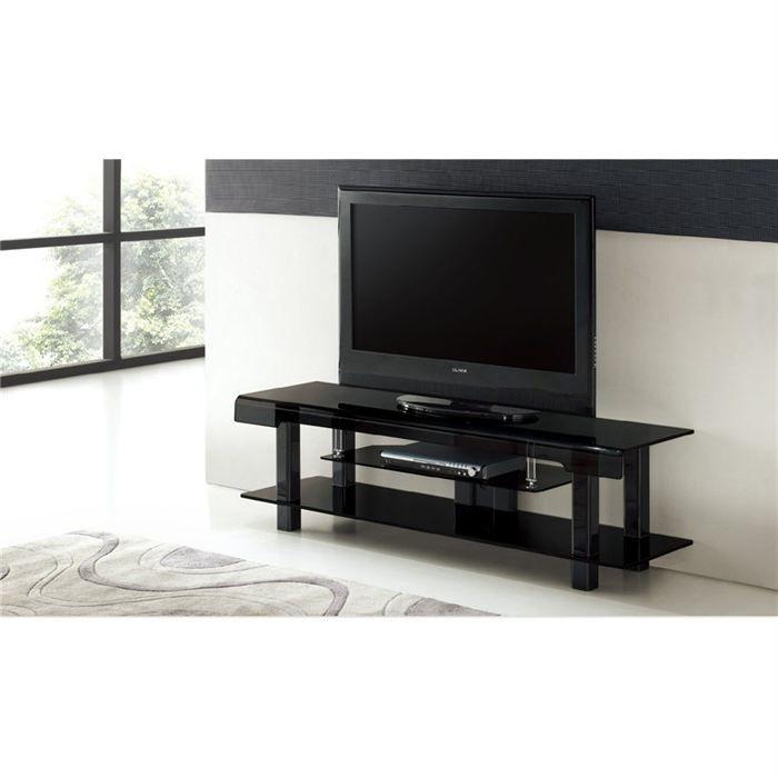 Meuble tv design en verre noir rico achat vente meuble for Meuble tv en verre design