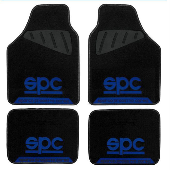 Jeu de 4 tapis sparco logo spc noir et bleu achat Tapis noir et bleu
