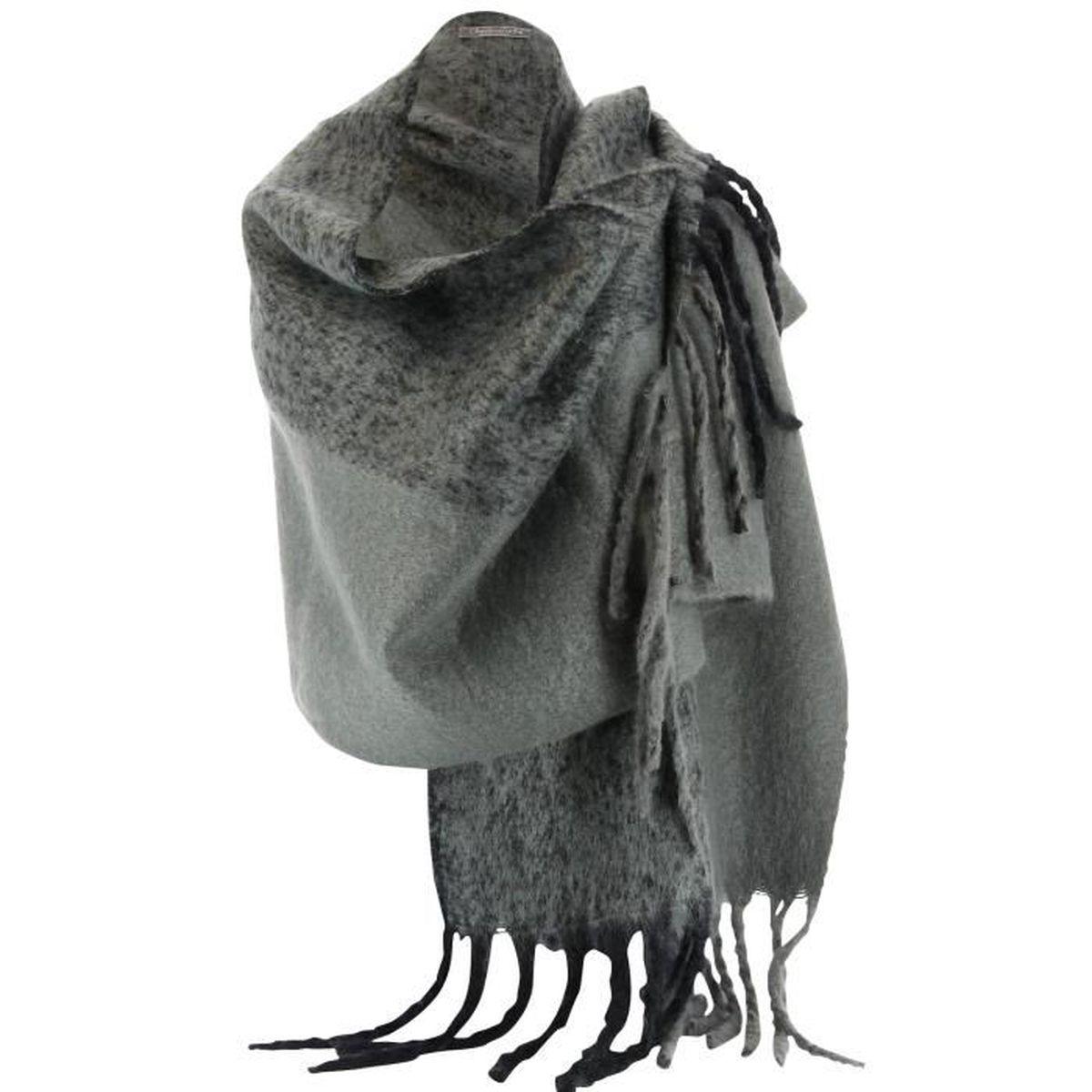 Charleselie94 grosse charpe tole laine hiver xxl mixte gris eymeric gris taille unique - Grosse echarpe en laine ...