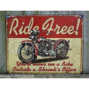 Deco plaques fer ou plaque emaillee  Plaque-tole-publicitaire-ride-free-biker-harley