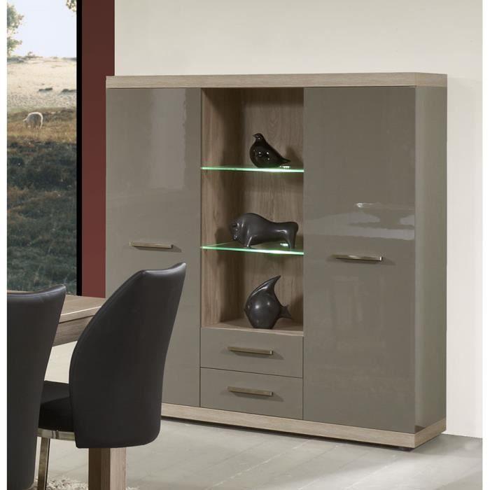 vaisselier gris laqu et ch ne clair moderne solly avec led achat vente vitrine argentier. Black Bedroom Furniture Sets. Home Design Ideas