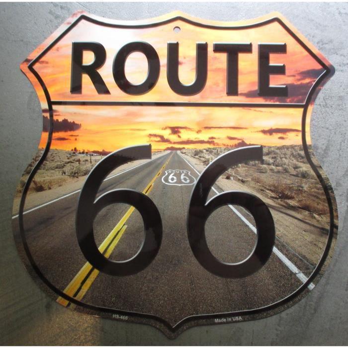 Plaque publicitaire route 66 couch de soleil blaso en for Plaque de decoration murale