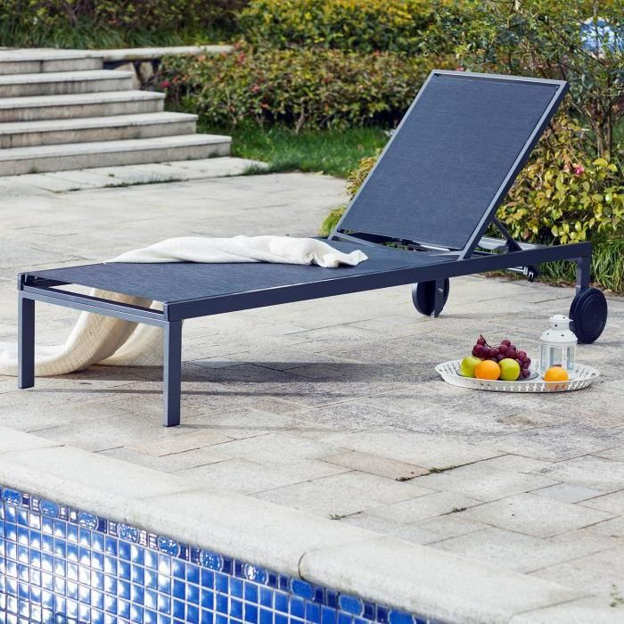 bain de soleil cubatextil ne avec roulettes noir achat vente chaise longue bain de soleil. Black Bedroom Furniture Sets. Home Design Ideas