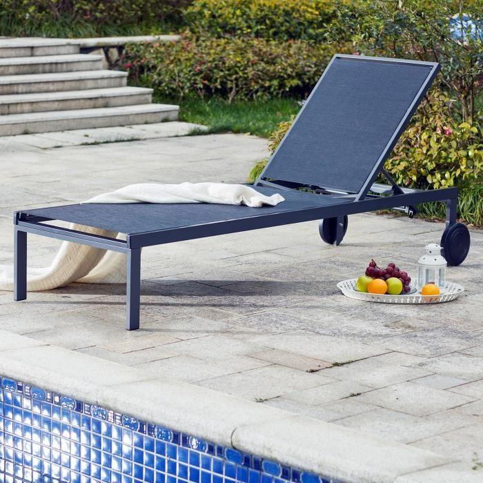 bain de soleil cubatextil ne avec roulettes noir achat vente chaise longue bain de soleil. Black Bedroom Furniture Sets. Home Design Ideas