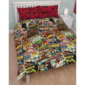 parure de lit marvel comics pour 2 personnes achat vente parure de drap cdiscount. Black Bedroom Furniture Sets. Home Design Ideas