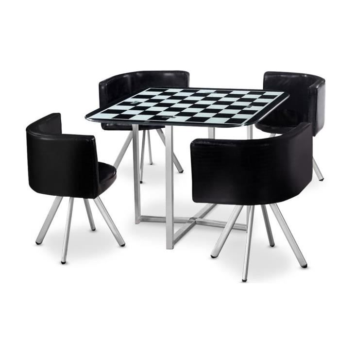 Table manger corner 90 cm noir blanc damier e achat for Table a manger noir
