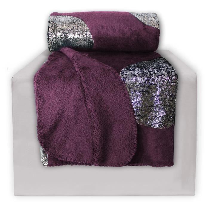 plaid polaire 127x152 imprim platine prune achat vente couverture plaid cdiscount. Black Bedroom Furniture Sets. Home Design Ideas
