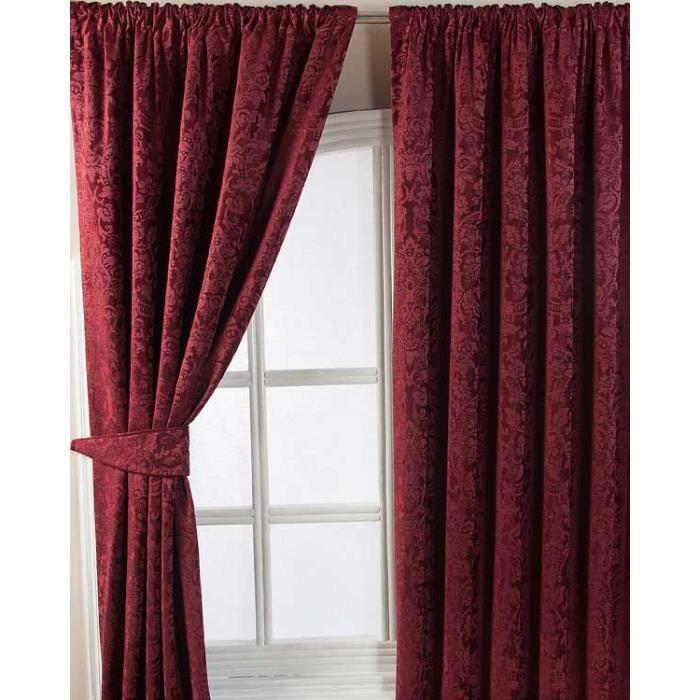 Rideaux galon fronceur bordeaux jacquard velvet 165 x 228 cm achat ve - Maison coloree rideaux ...