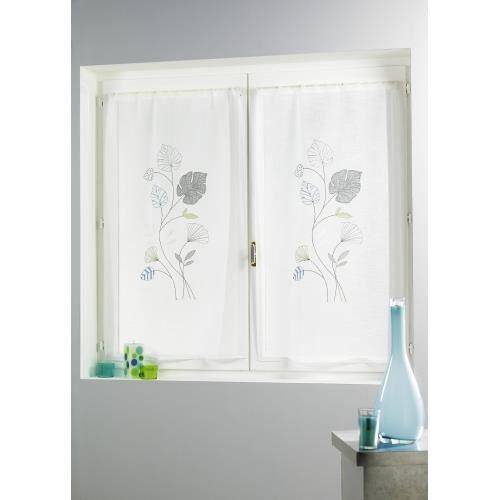 paire de voilage brod 39 fleurs 39 gris 70x120 cm achat vente rideau voilage cdiscount. Black Bedroom Furniture Sets. Home Design Ideas