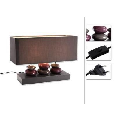 Lampe galet 3 piliers gris prune achat vente lampe for Lampe a poser rectangulaire
