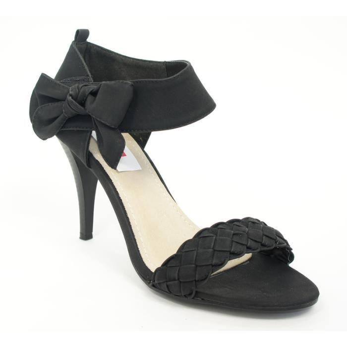 sandale talon avec un noeud co noir achat vente. Black Bedroom Furniture Sets. Home Design Ideas