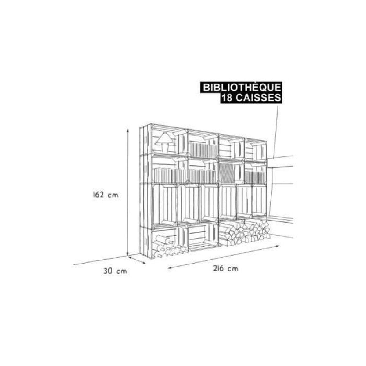 Biblioth que 18s kit pr t assembler caisses en bois x18 fabriqu e m - Bibliotheque caisse bois ...