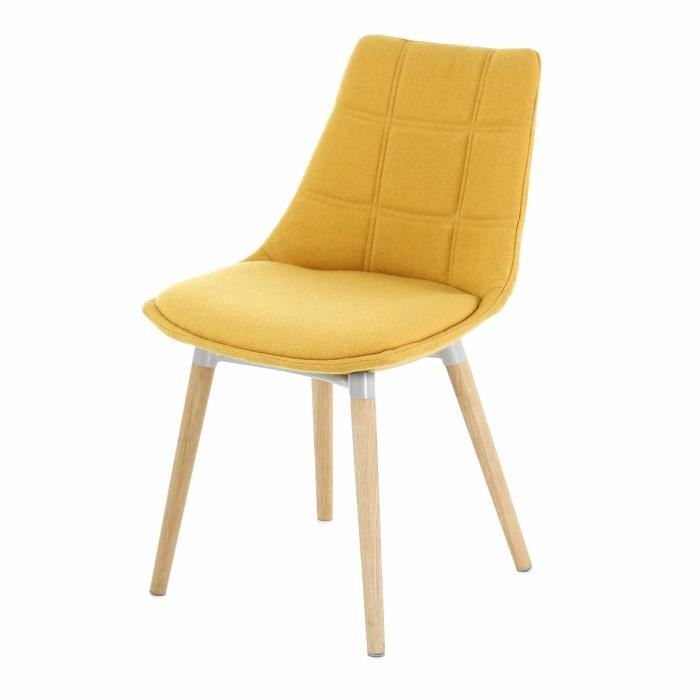 joy chaise jaune moutarde avec pi tement ch ne design scandinave jaune achat vente chaise. Black Bedroom Furniture Sets. Home Design Ideas