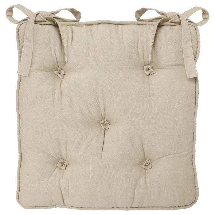 Galette de chaise 5 boutons lin achat vente coussin - Galette de chaise blanc ...