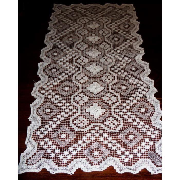 Chemin de table brode main filet relief a feurs rectangulaire 32cm x68 achat vente chemin de - Chemin de table filet de peche ...